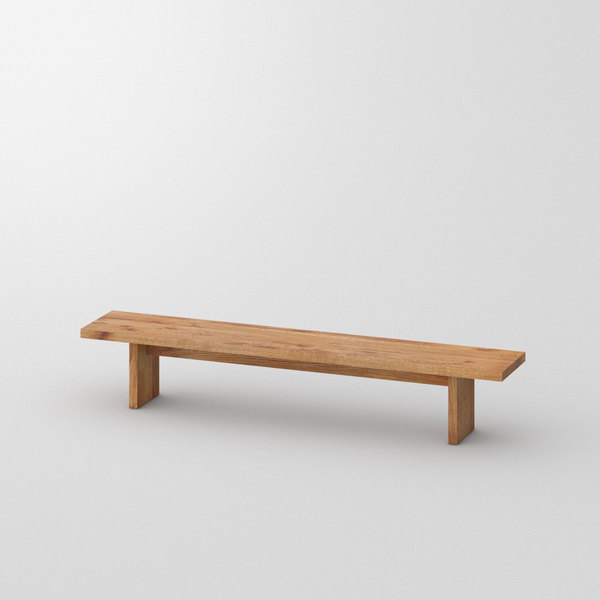 Solid Wood Bench SAGA custom made in Solid knotty oak, oiled by vitamin design