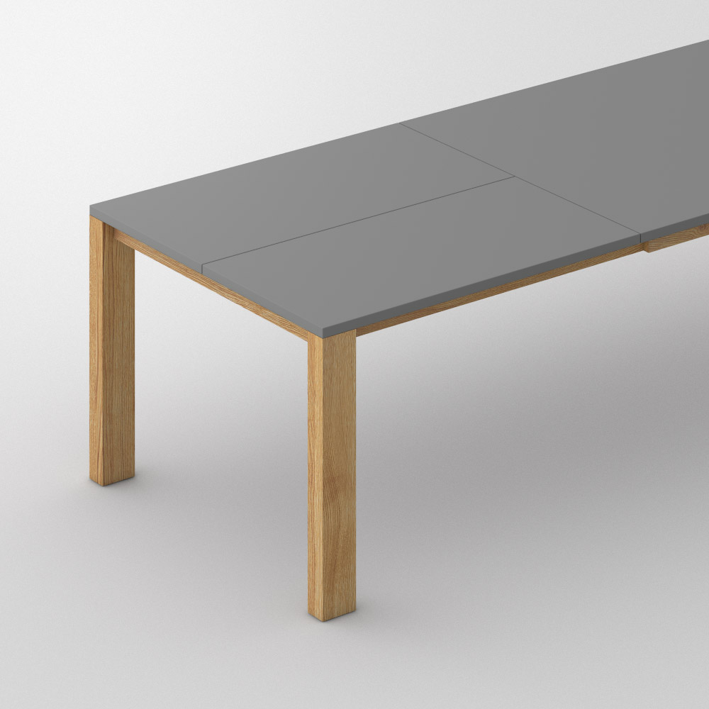extensible linoleum wood table varius butterfly lino custom made in solid oak oiled by vitamin - Table Extensible