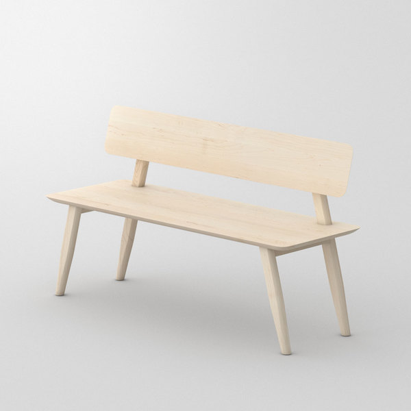 Bench with Back AETAS RL custom made in Solid American maple, chalked by vitamin design