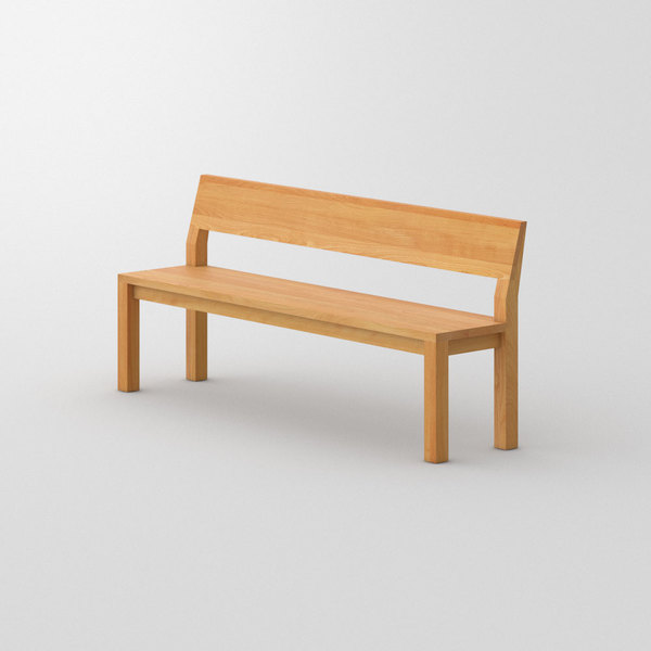 Bench with Backrest CUBUS RL custom made in Solid beech, oiled by vitamin design
