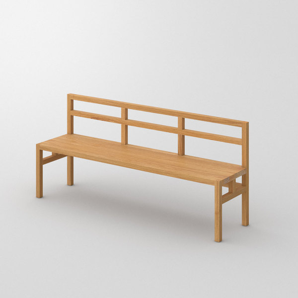 Bench with Backrest SENA RL custom made in Solid oak, oiled by vitamin design