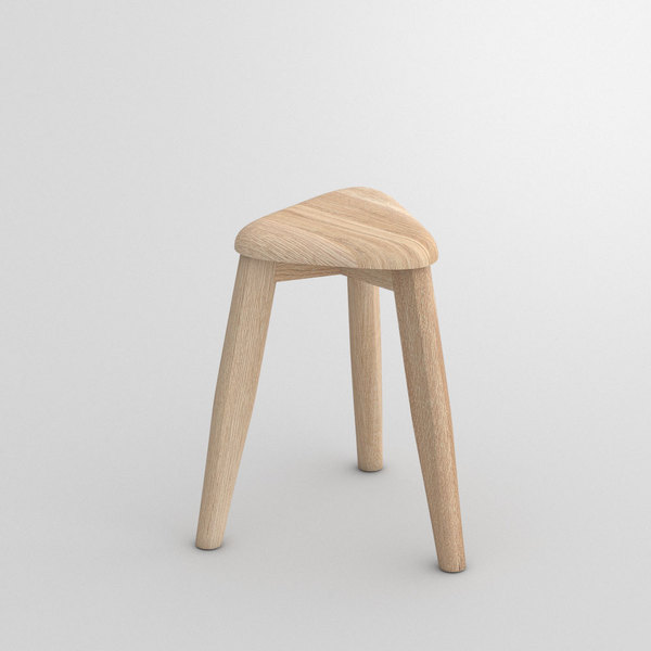 Triangle Wood Stool AETAS SPACE custom made in Solid oak, chalked by vitamin design