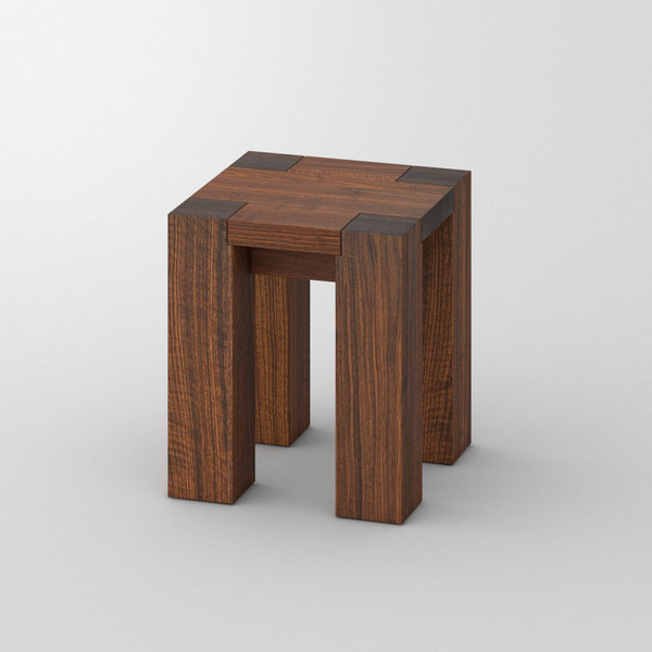 Solid Wood Stool TAURUS 4 B11X11 custom made in Solid American walnut, oiled by vitamin design