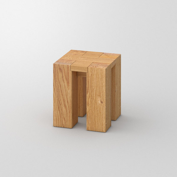 Rustic Oak Stool TAURUS 4 B14X14 custom made in Solid oak, oiled by vitamin design