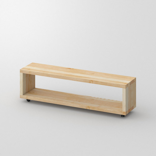 Rolling Night Table MENA-B-ROL custom made in Solid ash, oiled by vitamin design