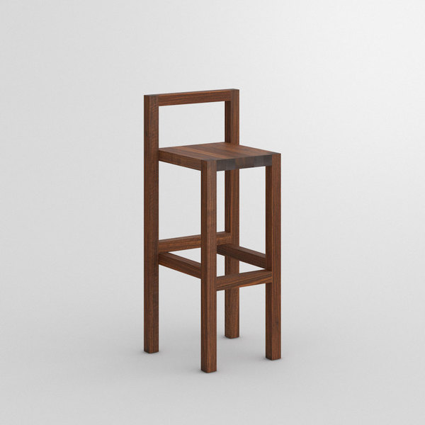 Bar Stool with Backrest PALI RL custom made in Solid American walnut, oiled by vitamin design