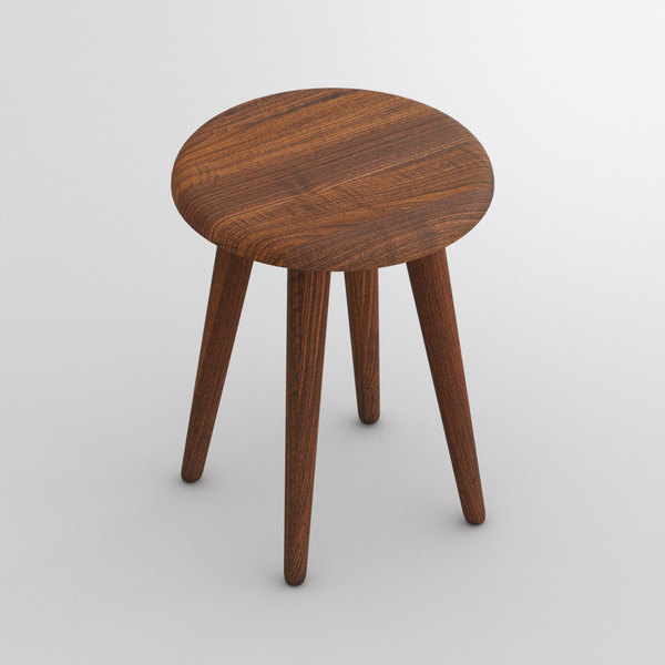 Round Wood Stool AMBIO ROUND custom made in Solid American walnut, oiled by vitamin design