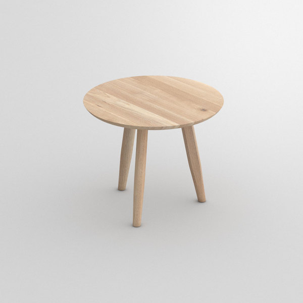 Round Night Table AETAS ROUND custom made in Solid oak, chalked by vitamin design