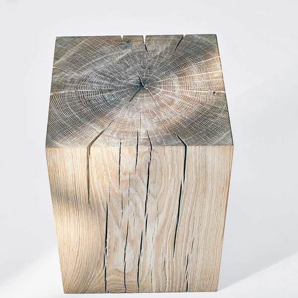 Tree Stump Night Table KLOTZ custom made in Solid oak trunk, chalked by vitamin design